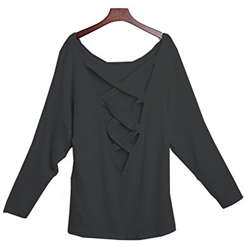 Yingkis Women Cut Out Loose Pullover Criss Cross Backless Sweater Shirt Top,B M by Yingkis (Image #3)