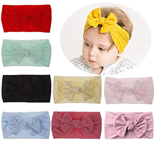 Qandsweet Soft Nylon Hairbands Baby Headbands and Bows For Newborn Infant Toddlers Girl Kids