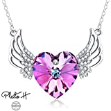 Swarovski Element Necklace Heart of Ocean Angels Wing Guardian Heart Pendant Necklace with Swarovski Crystals, Birthday Birthstone Jewelry Gifts for Women, Purple Pink, 20""