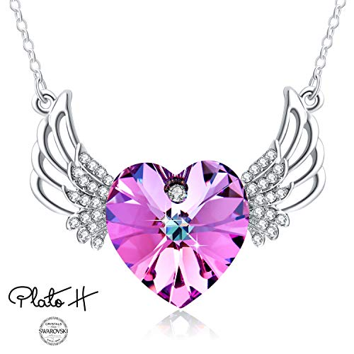 Swarovski Element Necklace Purple Heart Wing Crystal Necklace, Guardian Angel Wings Necklace, Purple Pink Angel Necklace with Swarovski Heart Shape Crystal, Guardian Wings Heart - Heart Necklace Pink