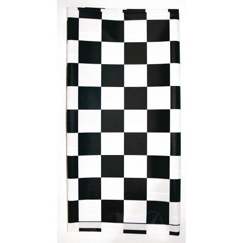 Creative Converting Plastic Stay Put Banquet Table Cover, 29 by 72-Inch, Black Check]()