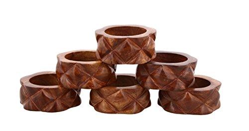 Shalinindia Handmade Wood Napkin Ring - Set of 6