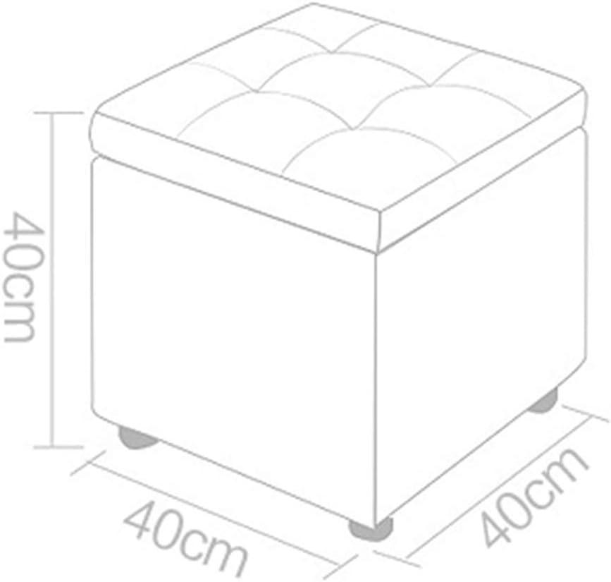 LIXIONG-Fußhocker Rahmen Speicherdesign Quadrat Schemel PU-Kissen Wasserdicht Lager 200kg, 11 Farben 40x40x40cm (Farbe : Purple) Weiß