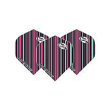 Hardcore Bad Girls Multi Black & Pink Stripe Extra Thick Standard Dart Flights - 5 sets Per Pack (15 Dart Flights in total) & Red Dragon Checkout Card