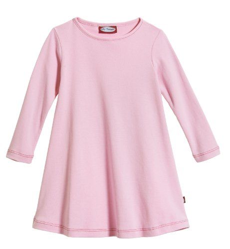 City Threads Big Girls' Cotton Long Sleeve Dress for School or Play for Sensitive Skin SPD Sensory Friendly, Pink, 8