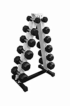 Ader Octagon Rubber Dumbbell Set 5,10,15,20,25,30 Total 210pound with Rack and 4 Mat