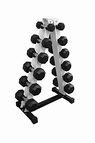 (Ader Octagon Rubber Dumbbell Set 5,10,15,20,25,30 Total 210pound  with Rack and 4' Mat)