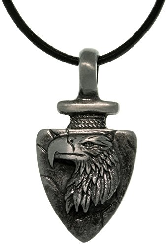 Jewelry Trends Pewter Men's Eagle Arrowhead Shaped Pendant with 18 Inch Black Leather Cord Necklace ()