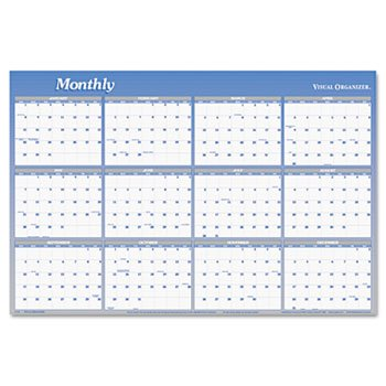 (AT-A-GLANCE Visual Organizer Vertical/Horizontal Erasable Wall Planner, Large Wall, Blue, 2013 (A1152-13))