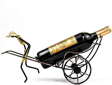 Estantería de vino Titular de la botella de vino, creativo humano carrito del estante del vino del estilo chino retro Hierro forjado estante del vino for los regalos sala de estar casera Decoración es