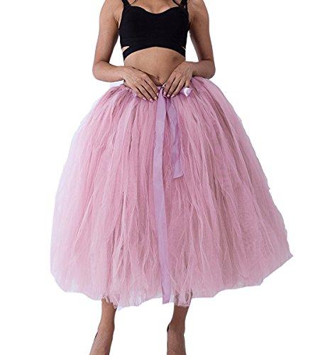 Comall Femme Rtro Tulle Jupon 80cm Jupe Vintage sous Poudr Rose Petticoat Tutu Robe en qqRgr