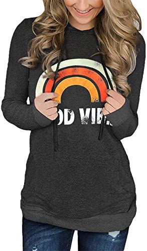 ONLYPUFF WOMENS HOODIE SWEATSHIRTS CASUAL TUNIC TOPS LONG SLEEVE TIE DYE SHIRTS WITH POCKETS