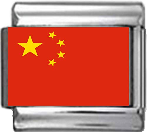 - Stylysh Charms China Chinese Flag Photo Italian 9mm Charm PC037 Fits Nomination Classic