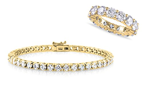 Ring Plated Gold Brass (NYC Sterling Cubic Zirconia Eternity Ring and Tennis Bracelet Set (yellow-gold-plated-brass, 8))