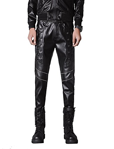 Idopy Men`s Rock Steampunk Lace Up PU Leather Pants Slim Fit (34, Black 666)