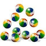 "Neliblu 12"" Classic Inflatable Rainbow Beach Balls - Pool Toys Party Favors - Beach Toys - Party Pack - Bulk Beach Balls (1 Dozen)"