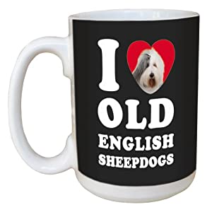 Tree Free Greetings LM45092 I Heart Old English Sheepdogs Ceramic Mug with Full-Sized Handle, 15-Ounce, White and Grey 1