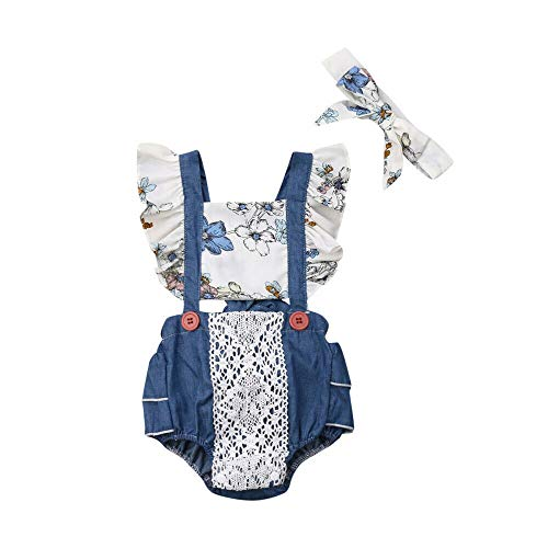 Newborn Baby Girl Sunflower Clothes Ruffle Sleeve Romper Bodysuit Spliced Jumpsuit Overalls Outfits with Headband Set ()