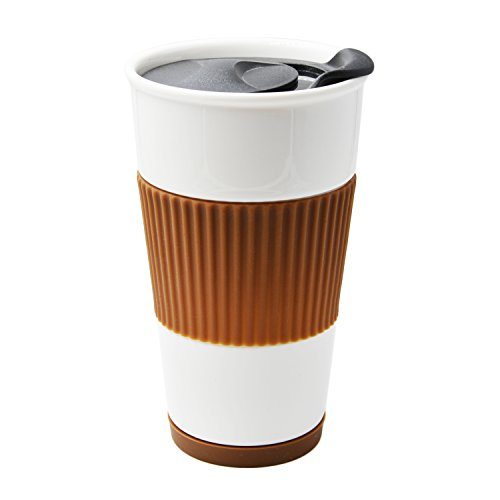 UDMG Ceramic Double Wall Insulated Travel Coffee Cup with Splash-proof Slider Lid, Silicone Sleeve & Built-In Coaster, 10 fl.oz (Coffee)