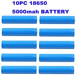 10 Packs Button Top Batteries High-Capacity 3.7V 5000mAh 18650 Lithium Rechargeable Battery for LED Lights/Toys/MP3/TV Remote Controls/Alarm Clocks/Flashlight Torch not aa Battery, not Flat Top