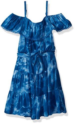 Amy Byer Girls' Big Shoulder Dress, Navy Watered Tie Dye, 14