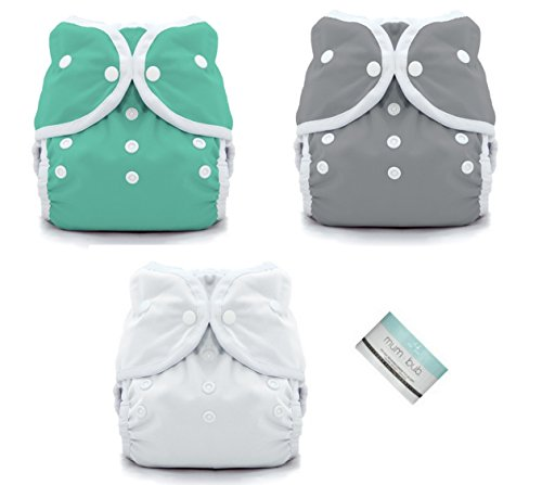 Thirsties Duo Wrap Snaps Diaper Covers 3 pack Combo: Fin, Moss Green, White Sz 1
