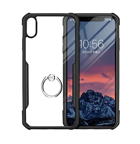 Segoi iPhone Xs ケース/iPhone X ケース リング付き 衝撃防止 スタンド機能 360度回転 落下防止 アイフォンXケース TPU ソフトバンパー 傷つき防止 全面保護カバー (iPhone Xs/X, 透明/黒)