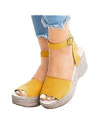 Women's Summer Sandals Espadrille Wedge Sandal Open Toe Buckle Strap Solid Color Sandals
