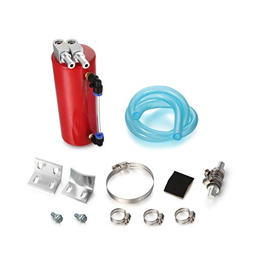 Twilight Garage Aluminum High Capacity Universal Racing Oil Catch Can Tank Oil Reservoir Breather Tank 450ML - Red