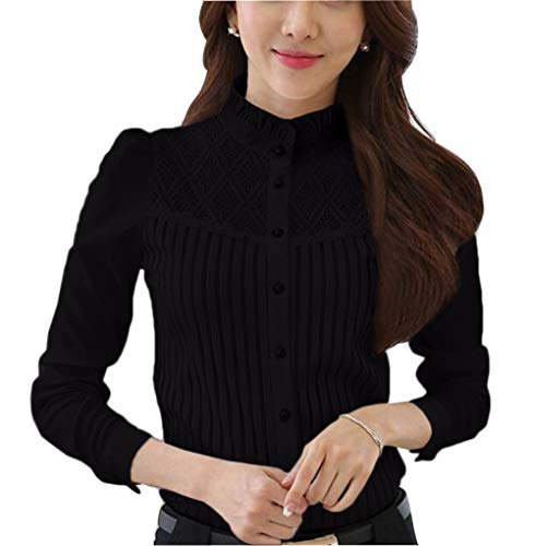 Women's Vintage Stand Collar Button Down Shirt Long Sleeve Lace Blouse Stand Collar Black 14