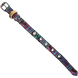 Mayan Pet Collar For Cats & Small Dogs (8.25 - 12.25 Inches) Handmade by Hide & Drink :: Tropical Blue