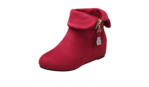 AIMTOPPY Ladies Fashion Large Size Round Head Wedge with High Heel Zipper Warm Short Boots Leather Boots