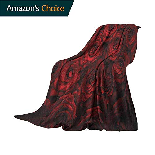(Dark Red Bed Blanket,Image of Red Roses with Drops of Water Blooming Bouquet Symbol of Love and Passion Throw Blanket for Ultimate Comfort,50