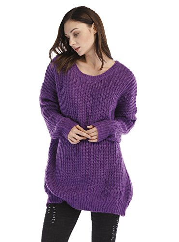 WAREN Women's Fashion Oversized Knitted Crewneck Casual Pullovers Sweater (M, Purple)