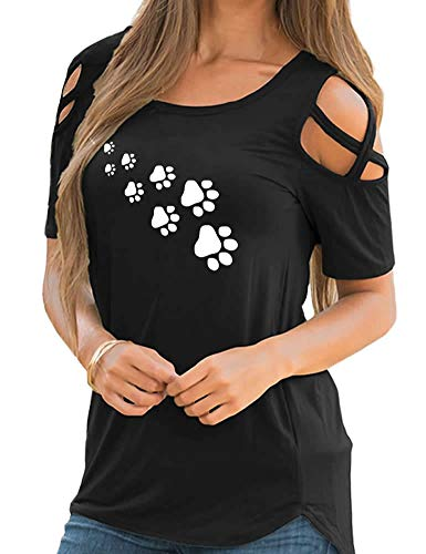 Funny Cute Love Dog Paw Print Cotton Off Shoulder Bandage Crew Neck T-Shirt for Women
