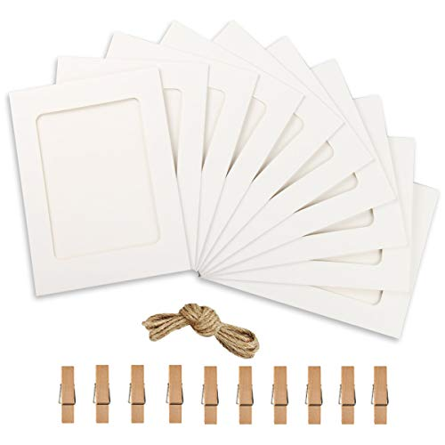 Paper Photo Frame 4x6 Kraft Paper Picture Frames 10 PCS DIY Cardboard Photo Frames with Wood Clips and Jute Twine (White)]()