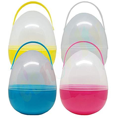 4Es Novelty Jumbo 10 Inch Giant Easter Eggs, Plastic Huge, Set of 4, Its Huge
