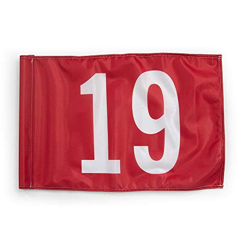 Golf Green Flags - Vispronet 20in x 14in Number 19 Golf Flag - Fabric is Lightweight, Durable, and Flame Retardant - Red Flag with White Numbers