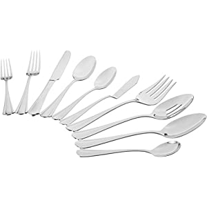 Amazon Basics 65-Piece Stainless Steel Flatware Set with Scalloped Edge, Silver, Service for 12
