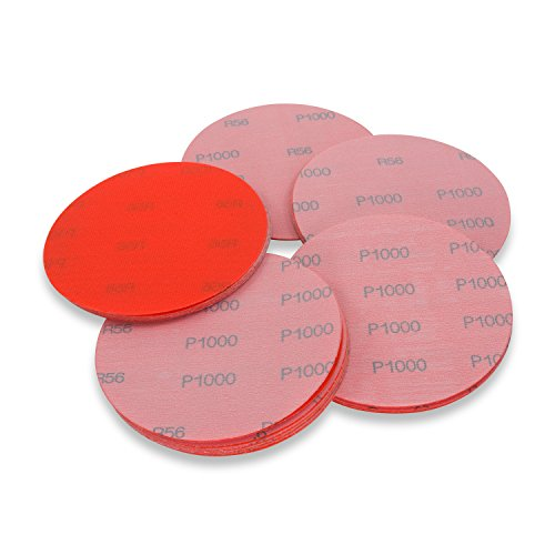 (6 Inch 1000 Grit High Performance Hook and Loop Wet/Dry Auto Body Film Sanding Discs, 50 Pack)