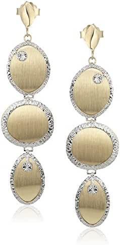 10k Yellow and White Gold Dangle Earrings