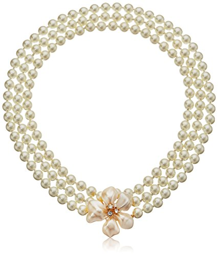 Kenneth Jay Lane Women's Pearl Flower Clasp Necklace