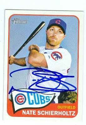 Nate Schierholtz autographed baseball card (Chicago Cubs) 2014 Topps Heritage #125 - MLB Autographed Baseball Cards