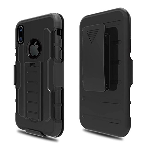 Casefashion Cover iPhone 8 Cassa Custodia 3 in 1 Hybrid Combo Heavy Duty Anti-slip Protettivo Shockproof Back Case Cover Shell Protettore with Kickstand for iPhone 8 (Black)