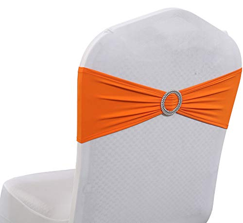 mds Pack of 50 Pcs Spandex Chair Sashes Bows Elastic Chair Bands Ties with Buckle Slider Bow for Wedding Decoration Lycra Slider Sashes Bow - Orange