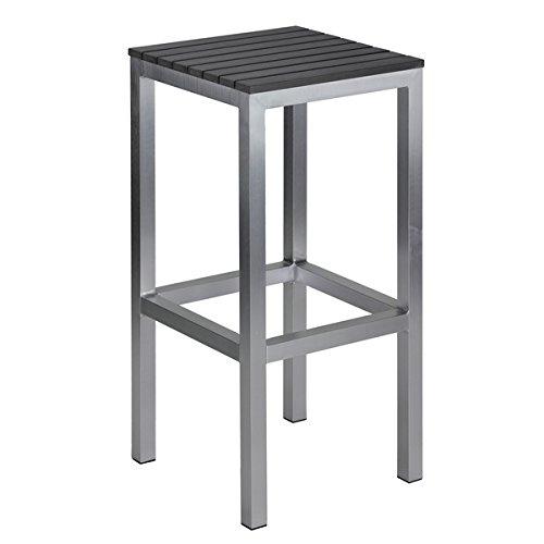 - Carbon Loft Linde Brushed Aluminium Slate Grey Polywood/Aluminum Outdoor Backless Barstool
