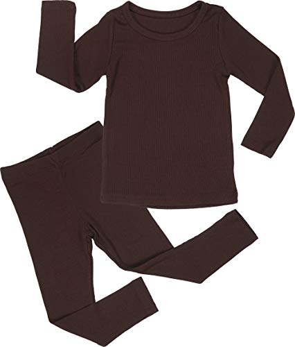 AVAUMA Baby Boy Girl Long Sleeve Ribbed Pajamas Set Snug-Fit Fall Winter Pjs Sleepwear Kids Toddler (X-Small/Dark Brown(L))