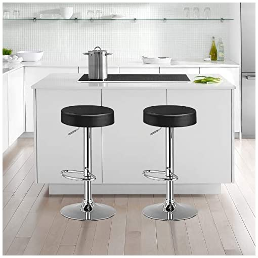 Kitchen COSTWAY Bar Stools Set of 4, Modern Swivel Backless Round Barstool, PU Leather Armless bar Chair with Height Adjustable… modern barstools
