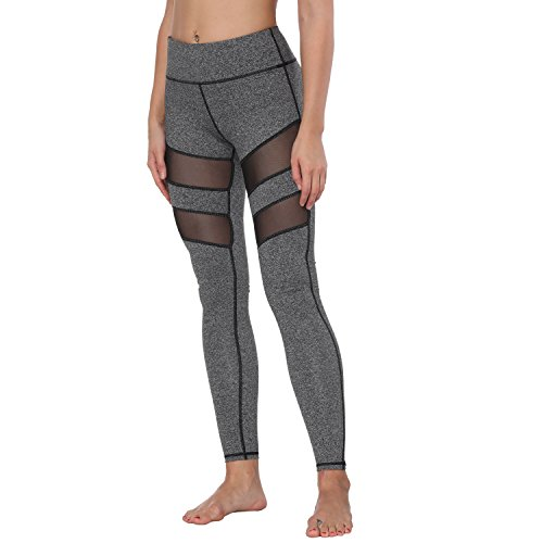Yoga Pants, FEIVO Women's Power Flex Yoga Pants Tummy Control Workout Yoga Capris Pants Leggings,Mesh-charcoal Grey,Medium
