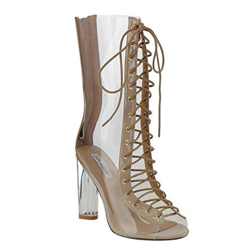 CAPE ROBBIN FF48 Women's Peep Toe Corset Lace Up Lucite Heel Mid Calf Boots, Color:TRANSPARENT, (Heel Corset)